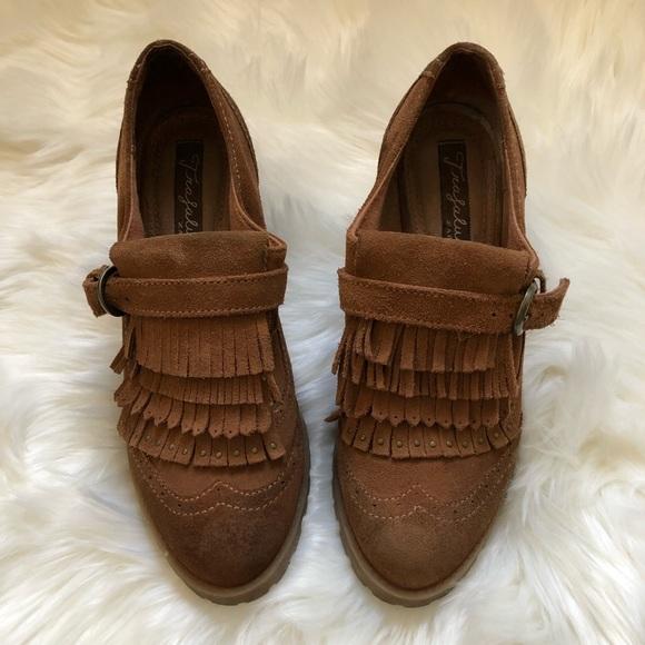 0857dec8f72 Zara Trafaluc fringe heeled loafers. M 5aedb92850687c9b220eda84